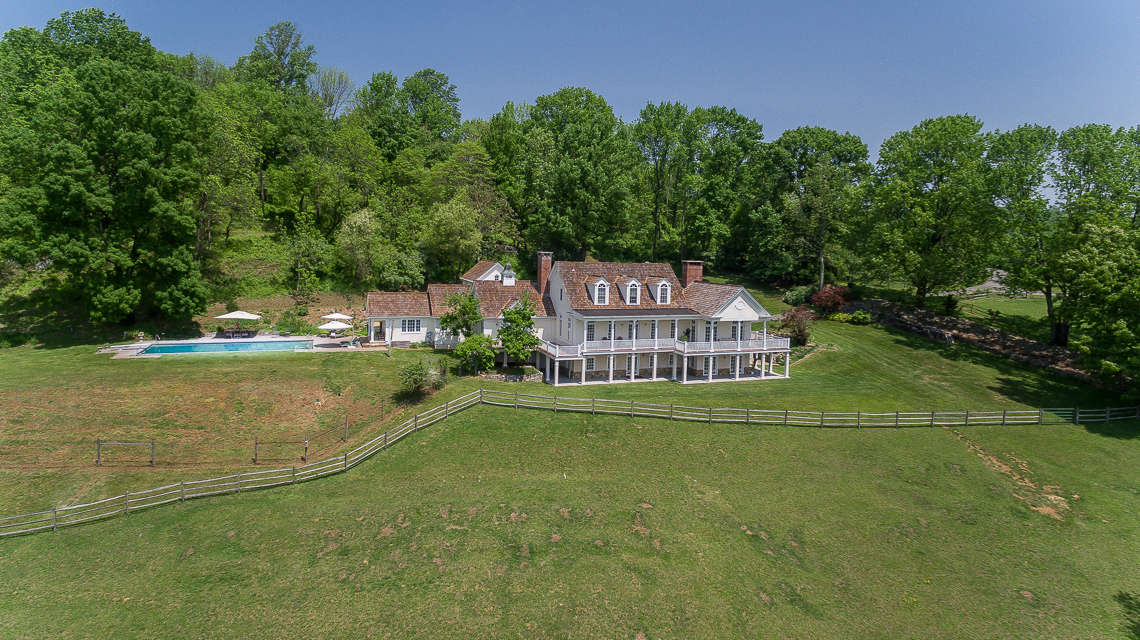 42 Fox Feather Farm — drone front exterior of home